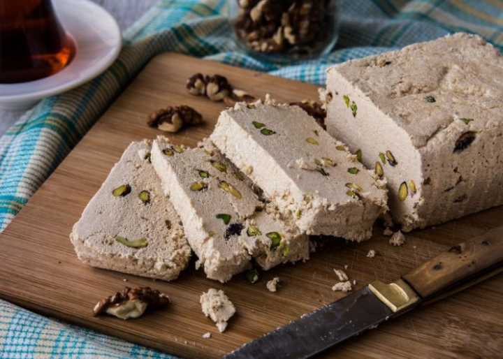 Slices of Greek Halva with peanuts and wallnuts - credits: Alp Aksoy/Shutterstock.com